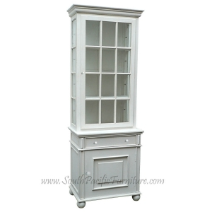 White Shabby Chic French Glass Cabinet
