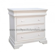 White Shabby Chic Sleigh Chest 4Drawers